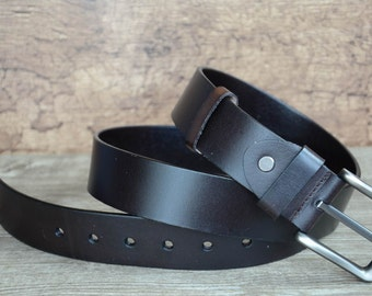 Mens Leather Belt , Durable Belt , Top Grain Cowskin Leather Belt , Blackinsh Brown