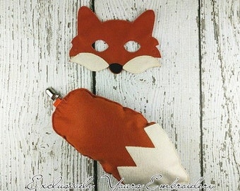Fox Costume Set with Mask and Tail  - Costume - Theater - Dress Up - Halloween - Face Mask - Pretend Play - Party Favor