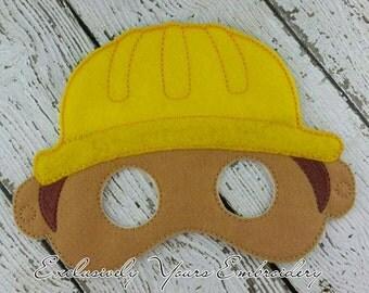 Construction Worker Mask Children's Felt Mask  - Costume - Theater - Dress Up - Halloween - Face Mask - Pretend Play - Party Favor
