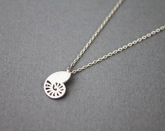 Turbo Charm Necklace Gold and Silver Shell of Turbo Necklace Dainty and Delicate Necklace Birthday Gift