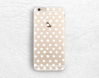 White Polka Dots pattern transparent phone case for iPhone 6s, LG G6, Nexus 5X, Samsung S8 S7, Google Pixel, Sony Xperia XZ, HTC One M9 -P75