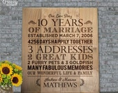 """10 Year Anniversary Gift Custom Weddng Anniversary Family Engraved Re-Claimed Wood Sign, Important Dates // Re-purposed Wood // 12""""x14.75"""""""