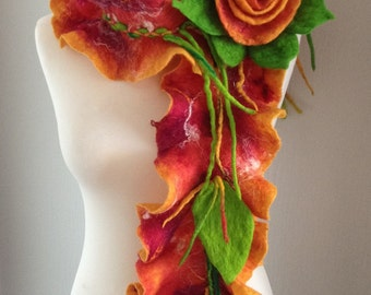 Scarf Felted, Merino Wool,brooch flower