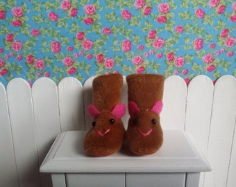 Boots Brown fabric slippers for Blythe and Pure neemo