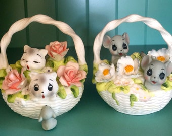 Josef Originals Basket of Kittens and a Basket of Mice