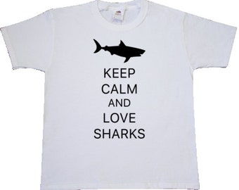 Keep Calm and Love Sharks Youth T-Shirt by Inktastic