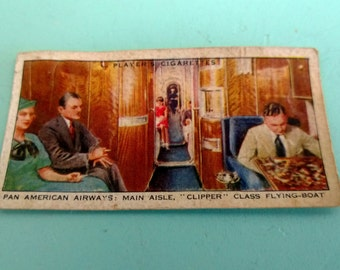 Vintage Player's Cigarettes Pan American Airways Card Free Shipping