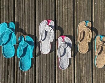 Ladies Sandals Slippers - Flops Womens - Flat Sandals - Cute Sandals from Wool Felt - Nonslip Sole - Cheap Flip Flops - Summer Home Shoes
