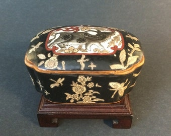 Vintage Chinese Porcelain Lidded Box with Ox Chinese Zodiac