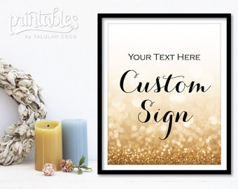 Customizable Wedding Sign Printable - Gold Wedding Decor - Glitter Sparkle Wedding Signage - Custom Wedding Banner - DIY Wedding Decorations