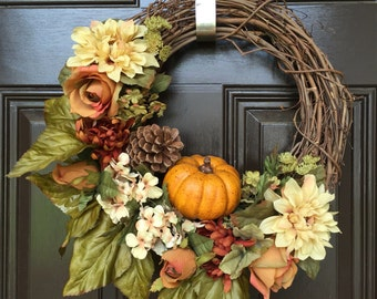 Fall wreath, pumpkin, Thanksgiving decor, grapevine wreath