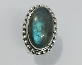 LABRADORIED  25 CT.NATURAL hand made semi precious hand made work art beauty design ring