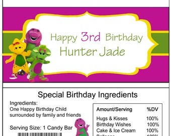 Barney birthday Candy Bar Wrapper