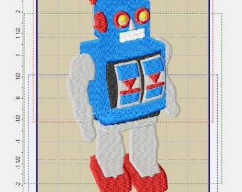 Vintage Robot Embroidery Design