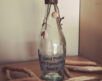 Recycled Beach Memory Bottle, wedding gifts, sand bottle, summer holiday memory, anniversary gift