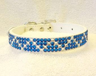 Rhinestone Dog Collar, Swarovski Bling Dog Collar, Blue and White Collar with Rhinestone Buckle, Medium Pet Collar