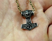 Thor's hammer pendant, small and finely detailed necklace