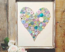 Button Art Love Heart Nursery Decorations, Small, Buttons Swarovski Crystal Rhinestones, Personalized Gift for Wedding, Pastel Wall Art