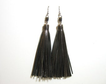 "Super Fine Kid Leather Fringe Tassel Earrings in Gunmetal 4.5"" (ERGUNMETKID040)"
