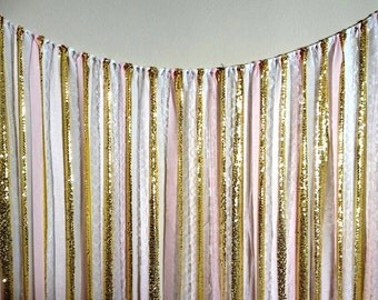 Sparkly gold, white, pink, fabric GARLAND, baby shower- Wedding Fabric Backdrop