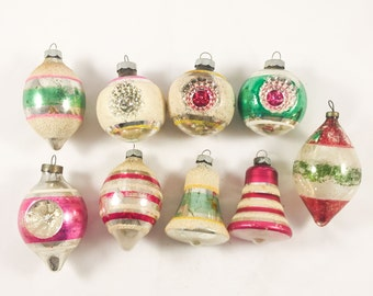 9 Shiny Brite Glass Xmas Ornaments Striped Indent Mica Mercury