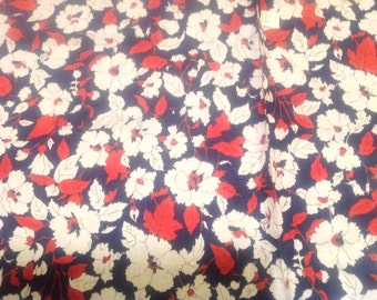 """Midcentury, Retro, Red, White, and Blue, Floral, Patriotic Fabric, 4 yards by 35"""""""