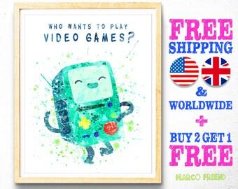 Adventure Time Print, Finn and Jake, Beemo, BMO, Game Boy, Watercolor Art, Kids Decor, Nursery Decor, Wall Art, Christmas Gifts - 10
