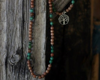 Set of necklace / bracelet *Back to the earth* rosewood and turquoise crystal healing, gemstone