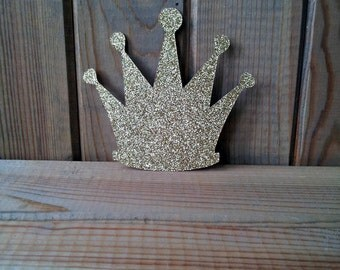 15 Gold Glitter Crown Die Cuts - Diy Garland - Princess - Banners - Craft Supplies - Party Supplies - diy - Embellishments - Confetti