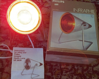 Vintage retro Philips infa red heat lamp- Infraphil for Aches and pains