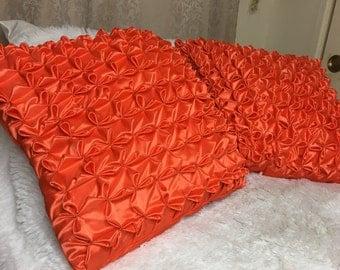 Bright orange set (2) pillow cases textured