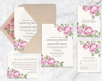 Printable Wedding Invitation Set, Pink Rose Flower Watercolor Wedding Invitation, Garden Theme Wedding Invitation, Summer Spring Autumn