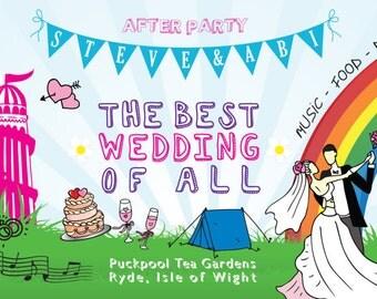 SAMPLE Bright Summer Fun Fair Wedfest Wedding Ticket Invitations!