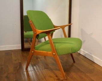 Swedish, Mid Century Oak Armchair.