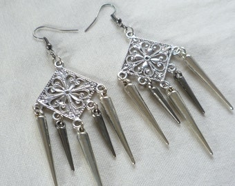 Spike earrings,silver,pewter spike chandelier earrings,spike dropper earrings.multi spike,mixed metal.spike jewelry
