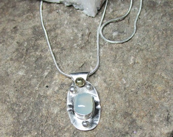 C-132 necklace with charm in Silver 925 aqua chalcedony skated, free shipping / Free Shipping