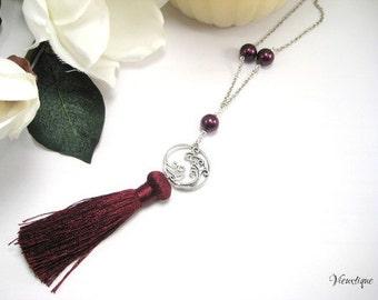 Tassel Necklace, Long Necklace, Cranberry Tassel Necklace, Silver Chain Tassel Necklace