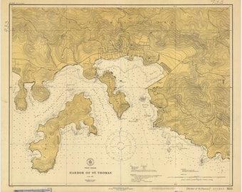 St. Thomas Harbor Map (USVI) 1920
