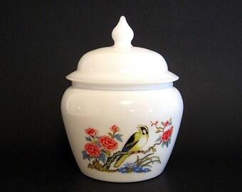 Vintage Milk Glass Ginger Jar Avon Dynasty Candle Holder Vanity Decor