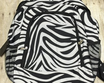 Personalized Zebra Print Book Bag, Monogram Canvas Book bag, Personalized Backpack,  Kids Backpack, Personalized Book bag