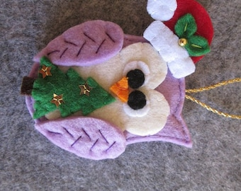 Felt Christmas ornament; Felt Owl ornament; Christmas Owl ornament; Handmade Ornament; Christmas gift; Felt ornament; Stocking stuffers.