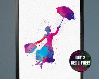 Mary Poppins Supercalifragilisticexpialidocious Watercolor Fine Art Print Wall Poster Home Decor Painting Giclee Illustration No 152