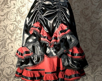 """Skirt with ruffles - """"Esmeralda"""" - black and red - gothic"""