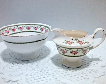 """Antique Creamer and Sugar Bowl, Foley """"Antique Rose"""" by Wileman and Co, Pattern Number 10136, Adelaide Shape, Circa 1890s"""