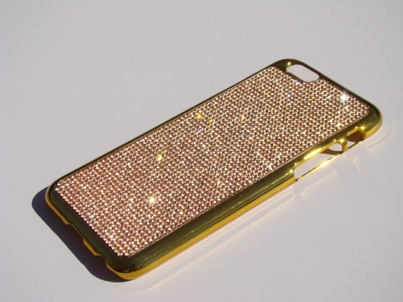 "iPhone 6 / 6s 4.7"" Rose Gold Rhinstone Crystals on Gold-Bronze Chrome Case. Velvet/Silk Pouch Included, Genuine Rangsee Crystal Cases."