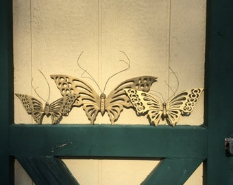 Vintage brass butterflies/ brass / home decor/ set of 3 / butterfly