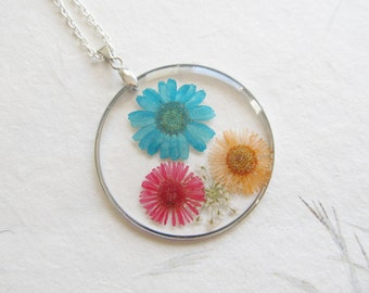 Real flower necklace, flower necklace, flower jewelry, botanical necklace
