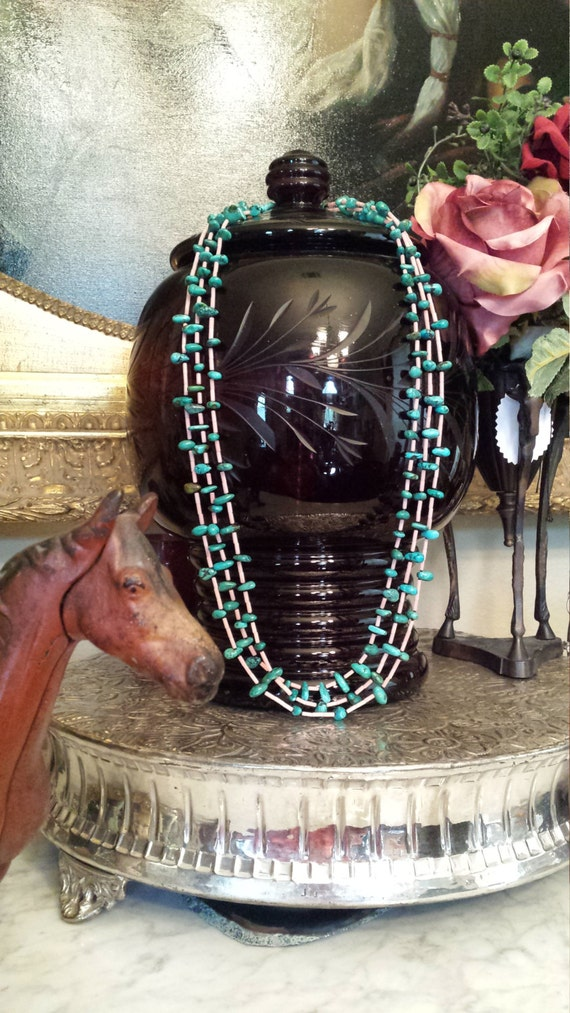 Three strand turquoise and coral native American style necklace