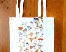 Mushrooms tote bag - shopping bag with illustrated print of British mushrooms & fungi