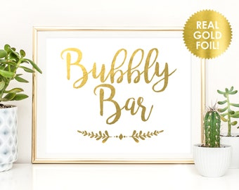 Bubbly Bar Wedding Foil Sign / Reception Sign / Bar Sign / REAL Gold Foil / Champagne Bar Sign / Peony Theme